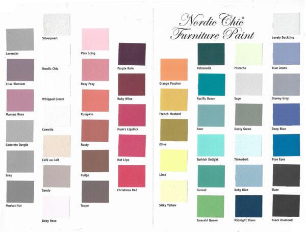 painted color card showing Nordic Chic Paint colors